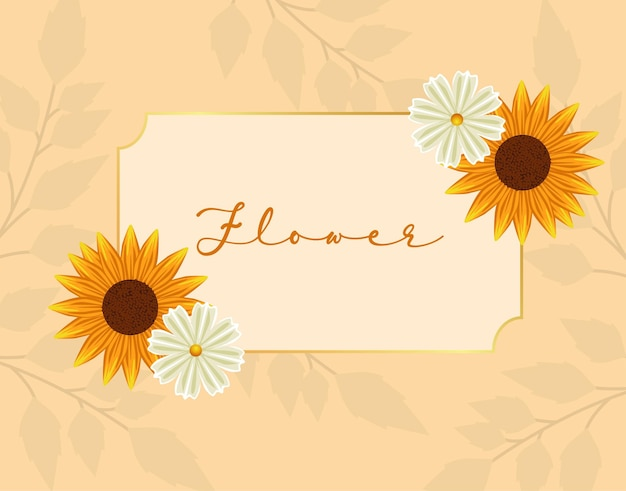 Schöner sonnenblumenrahmen