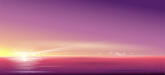 Schöner sonnenuntergang des hintergrundes über dem meer und