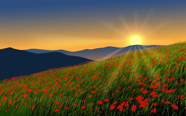 Schöner sonnenuntergang im blumenfeld mit berg- und sonnenstrahlen