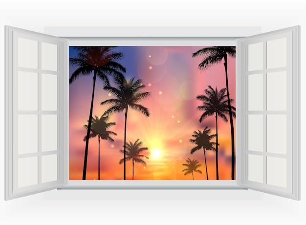 Schöner sonnenuntergang mit palmen der geöffneten fensteransicht