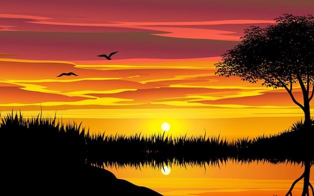 Schöner sonnenuntergang mit reflexion im teich