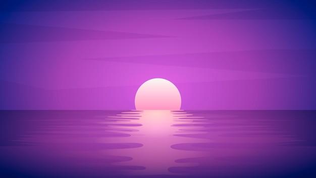 Schöner sonnenuntergang, sonnenreflexion auf wasser
