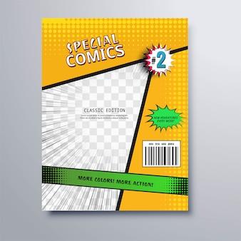 Schöner spezieller comicbuch-abdeckungsschablonenvektor