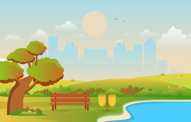 Schöner stadtpark im fall-herbst mit gebäude-skyline-illustration