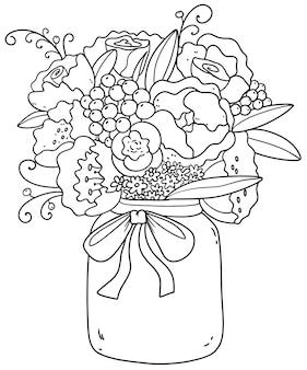 Schöner strauß mit pfingstrosen, rosen, gänseblümchen, flieder. romantisches bild.