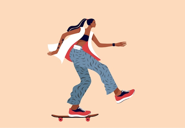 Schöner teenager, cooles mädchen im stilvollen stoff auf einem skateboard. frauentageskarte. flache artillustration.