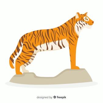 Schöner tiger mit flacher bauform