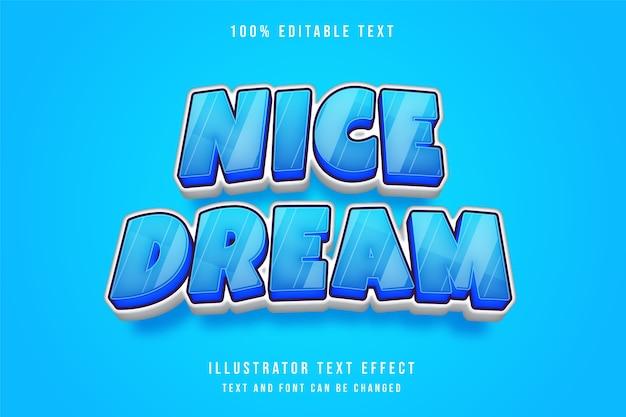 Schöner traum, bearbeitbarer 3d-texteffekt der blauen abstufung im comic-stil