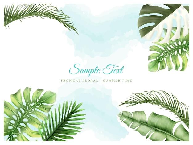 Schöner tropischer blumenhintergrund Premium Vektoren