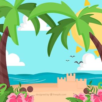 Schöner tropischer hintergrund mit flachem design