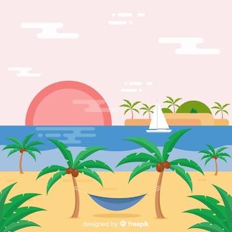 Schöner tropischer strand mit flachem design