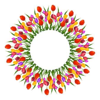 Schöner tulpenhochzeitsblumenrahmen