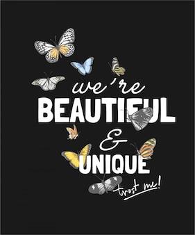 Schöner und einzigartiger slogan mit bunten schmetterlingen auf schwarzem hintergrund
