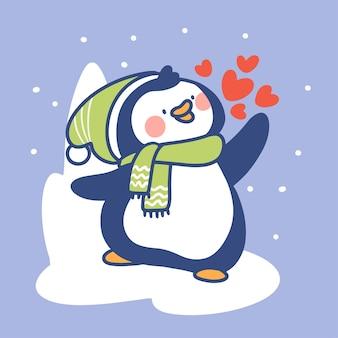 Schöner und süßer kleiner pinguin sagt hallo gekritzelillustration