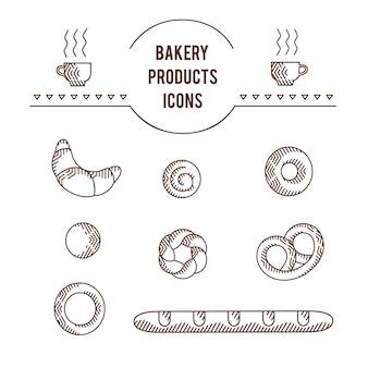 Schöner ursprünglicher ikonensatz der vektorgrafik von bäckereiprodukten