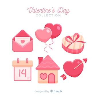 Schöner valentinsgrußelementsatz