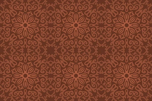 Schöner vektorhintergrund mit nahtlosem muster der bunten braunen blumenweinlese