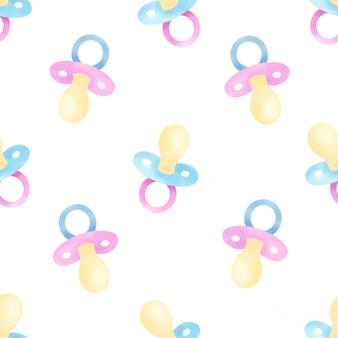 Schöner wasserfarben-baby-schnuller naht muster