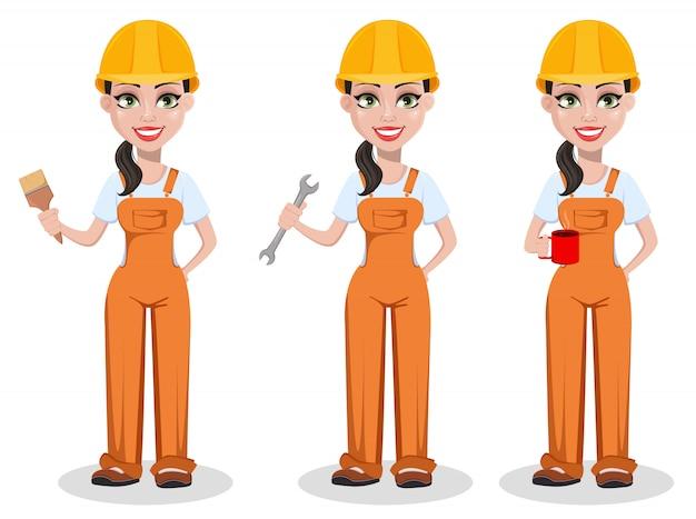 Schöner weiblicher erbauer in der uniform