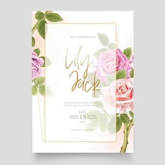 Schöner weicher rosa blumenstrauß von hand gezeichneten rosenillustrationen