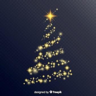 Schöner weihnachtsbaum mit eleganten lichtern