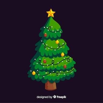 Schöner weihnachtsbaum mit flachem design