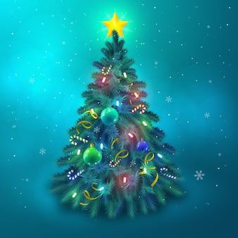 Schöner weihnachtsbaum verziert mit sternkugeln und lichthintergrund flache vektorillustration