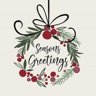 Schöner weihnachtsdekorationskranz mit jahreszeitengrußschreiben, traditionelle weihnachtsvektorillustration