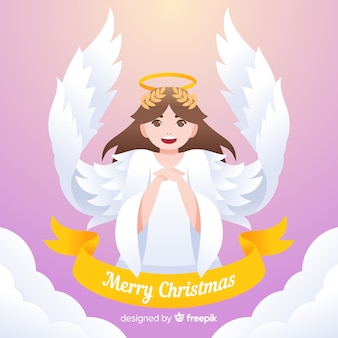 Schöner weihnachtsengel mit flachem design