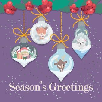 Schöner weihnachtsgruß mit dekorativen elementen