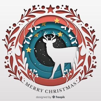 Schöner weihnachtshintergrund in der papierart