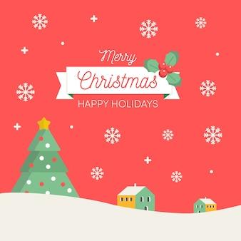 Schöner weihnachtshintergrund mit flachem design