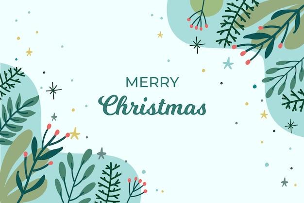 Schöner weihnachtshintergrund mit handgezeichneten blättern
