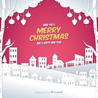 Schöner weihnachtshintergrund mit papierart