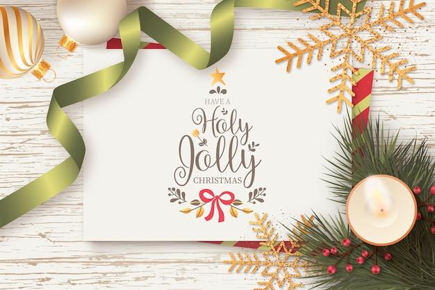 Schöner weihnachtshintergrund mit weihnachtskarten-schablone
