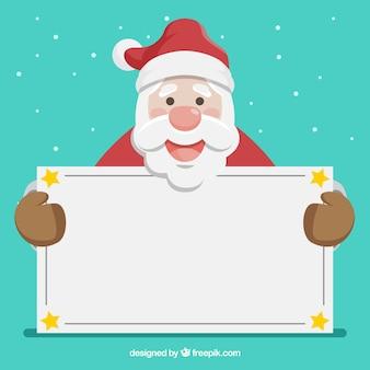 Schöner weihnachtsmann mit leerem zeichen