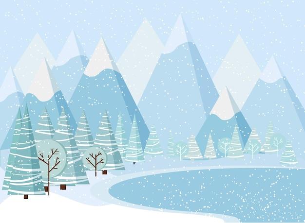 Schöner weihnachtswinterlandschaftshintergrund mit bergen, schnee, bäumen, fichten, gefrorenem see.