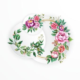 Schöner weißer runder rahmenblumenaquarellblumenstrauß