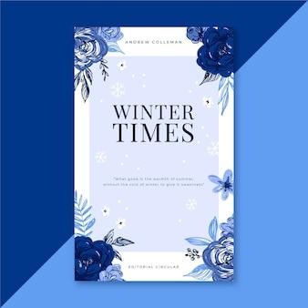 Schöner winterbuchumschlag mit blumen