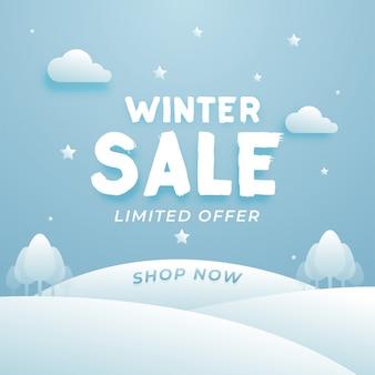 Schöner winterschlussverkauf-aufbau mit wolken und baum