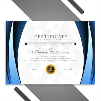 Schöner zertifikatsdesignvektor der blauen wellenart