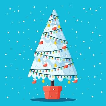 Schönes 2d weihnachtsbaumkonzept