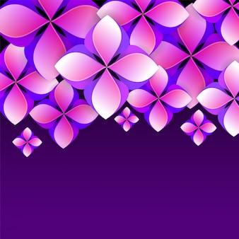 Schönes abstraktes blumenmuster verzierte purpurroten hintergrund.