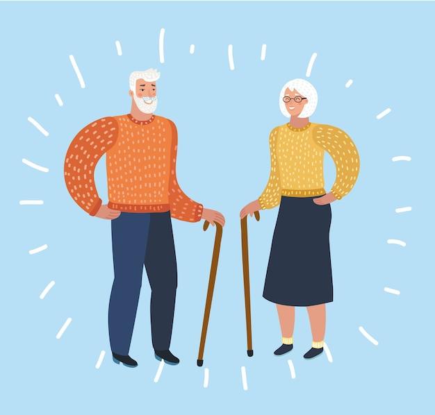 Schönes älteres paar, das lacht und spazieren geht und kletterkleidung und -ausrüstung trägt
