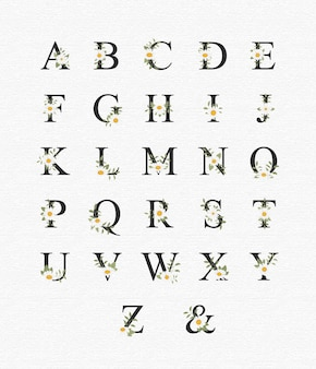 Schönes alphabet für hochzeit mit blumen