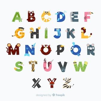 Schönes alphabet mit tierbuchstaben