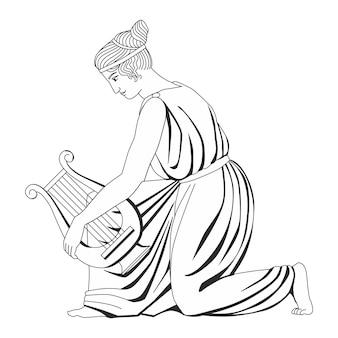 Schönes antikes mädchen mit einem krug heraldik hand gezeichnete vektorillustration lokalisiert auf weiß