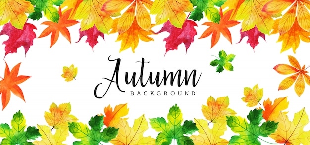 Schönes aquarell autumn leaves banner
