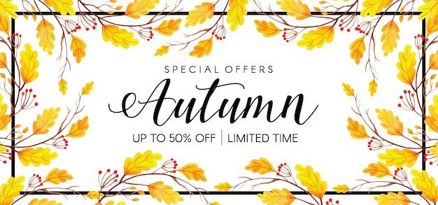 Schönes aquarell autumn leaves banner