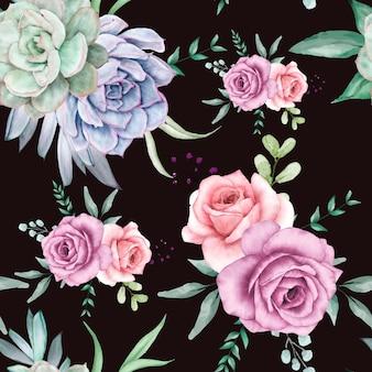 Schönes aquarell floral nahtlose musterdesign